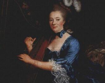 Portrait of Geneviève Rinteau de Verrières PDF Cross Stitch Pattern