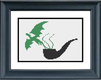 Pipe with Green Dragon Smoke - The Lord of the Rings - The Hobbit - JRR Tolkien - PDF Cross-Stitch Pattern