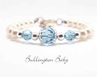 Baby Bracelet, Baby Birthstone Bracelet, Baby Pearl Bracelet, Baby Shower Gift, Flower Girl Bracelet, Baby Jewelry, Pearl Jewelry (B60)