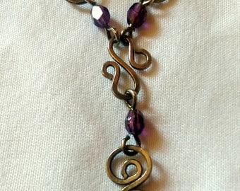 Deep Purple Beaded Swirls Y Necklace