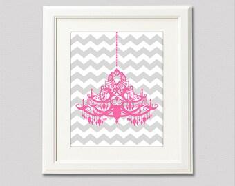 Pink and grey chandelier wall decor - 8x10 - nursery art print, Children wall art, Baby girl Room Decor, pink, chevron, gray  - UNFRAMED