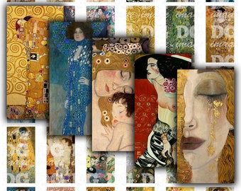 Gustav Klimt Art Deco - Rectangles 1x2 inch 25x50mm Domino size, 0.75x1.5 inch 19x38mm Bamboo size - Digital Collage for jewelry, pendants