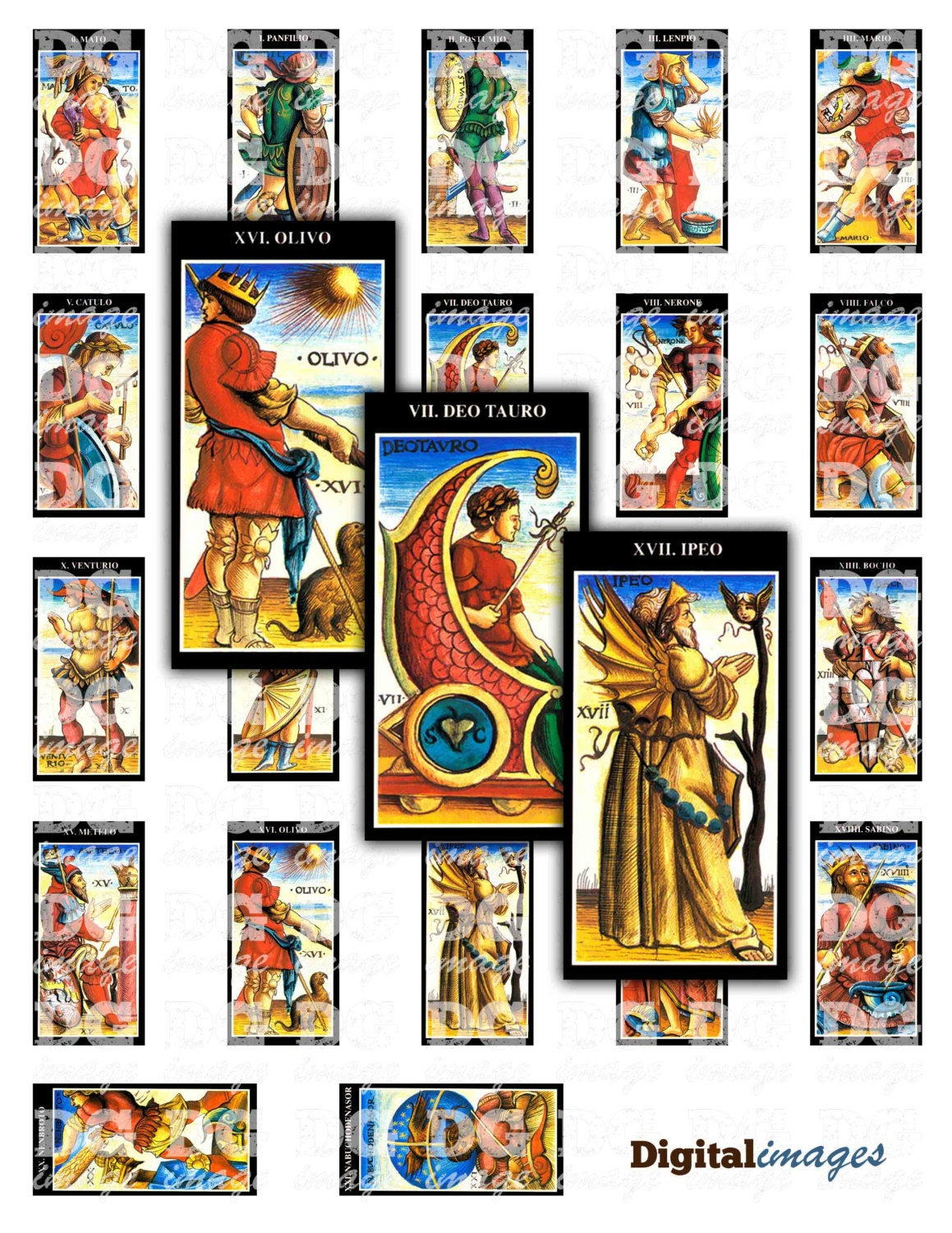 Antique Tarot Card The Fool: 1x2 Domino Antique Tarot Card Deck Digital Collage Sheet For