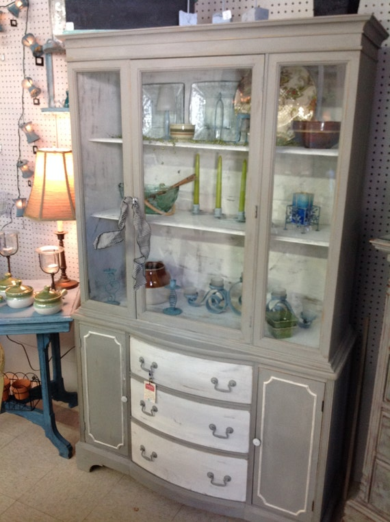 Hand Painted In Chicago Antique China Cabinet With Glass