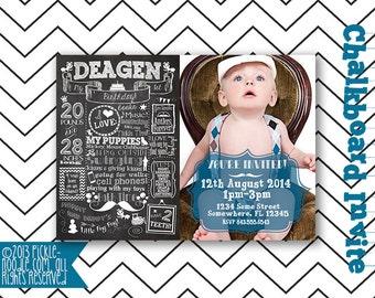 First Birthday Invitation - One Year - First Birthday Chalkboard Invitation - Custom Baby's 1st Birthday Invitation - 2nd 3rd 4th birthday
