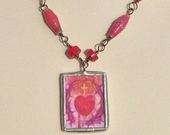 Sacred Heart / Immaculate Heart on Leather