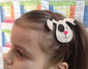 Head band (fabric covered) with felt design (from 100% recycled plastic bottle)