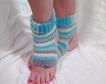 Blue Striped Wool Crochet Yoga Socks