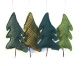 Woodland Green Tree set 4 Balsam Fir Filled Scented Upcycled Wool Natural Eco Ornament Christmas Thanksgiving Earth Day Arbor Day Woodland