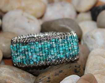 Turquoise and Silver Safety Pin Bracelet