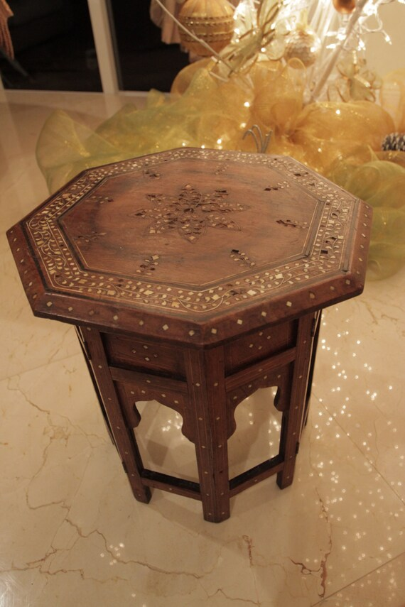 Anglo Indian Octagonal Table Inlaid With Bone Made In India