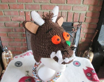 The gruffalo crochet hat, prices vary, please check full listing