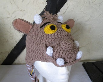 Crochet Gruffalo child hat, prices vary, please see full listing for details