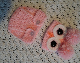 crochet owl hat, booties and diaper cover.