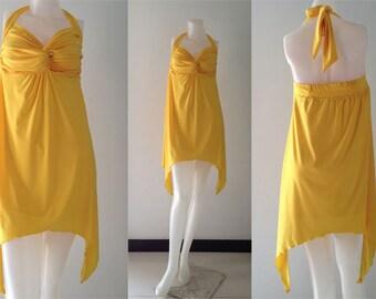 Yellow  halter asymmetrical Short maxi dress all size