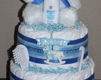 Blue Rocking Horse Diaper Cake