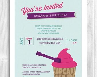 Cupcake Printable Invitation - cupcake wars, cake wars, baking party
