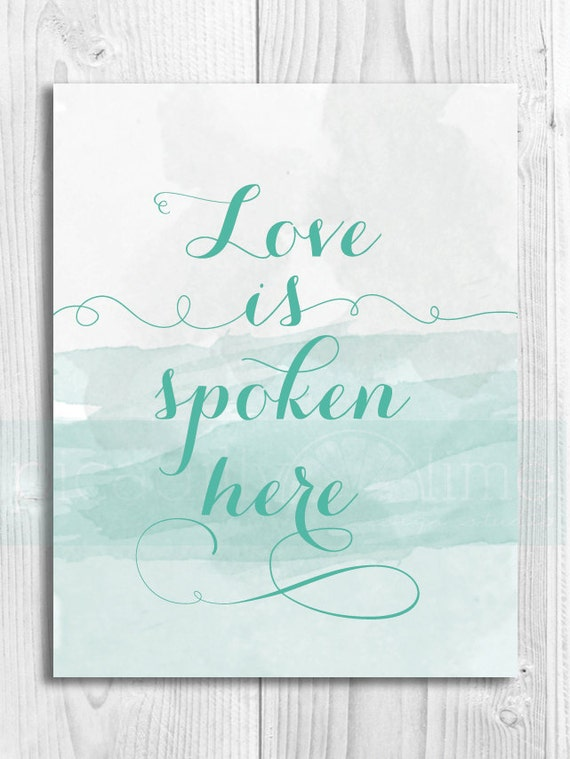 Love is Spoke Here illustrated print - 11x14 or 8.5x11 printable
