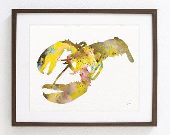 Watercolor Painting - Lobster Art, Minimalist Art 8x10 Reproduction Print - Yellow American Lobster Wall Art Wall Decor Housewares Gifts Sea
