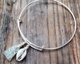 Seafoam Beach Glass & Sea Shell Expandable Bracelet // Long Island sea glass, handmade, one of a kind, Eco-friendly