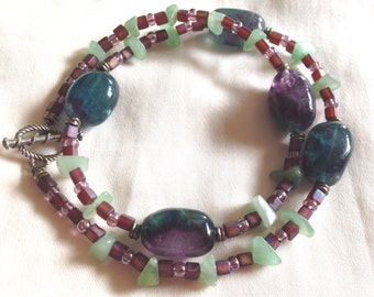 Vintage Handmade Purple Green Fluorite, Aventurine, Pink Glass Artisan Necklace