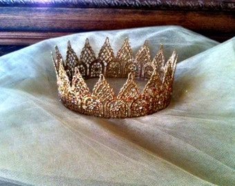 Crown, adult size, gold lace, Swarovski crystals