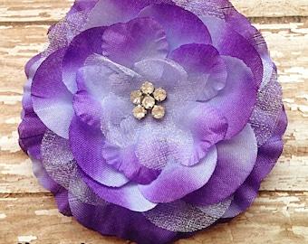 RuFFLED RHiNeSToNE HAiR FLoWeR- SHaDES of PuRPLe- Flower Girl Hair Clip 3 inch