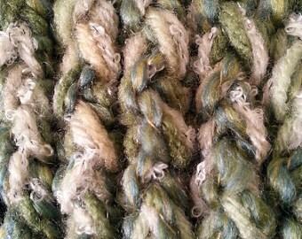 Pesto Green Crocheted Scarf