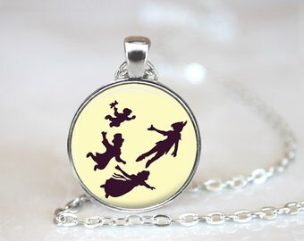 "Peter Pan Jewelry Pendant Moon Peter Pan Necklace  with 24"" Chain."