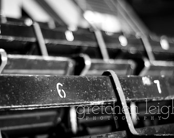 FIRST EDITION Fenway Original Seats photo Black & White - Boston Red Sox decor, fine art photography, baseball, den, man cave, office, bar