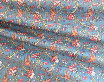 Dutch Chintz - Les Oiseaux du Paradis BLUE GREEN 1/2 yd