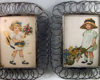 Framed little girl prints vintage