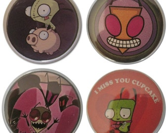 Invader Zim 1.25 Inch Pin Back Buttons