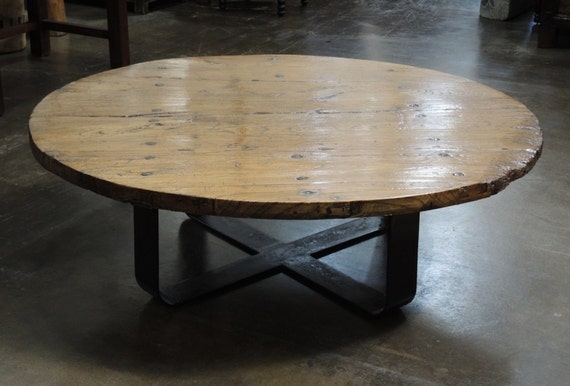 Recycled wood round coffee table with metal base from Terra
