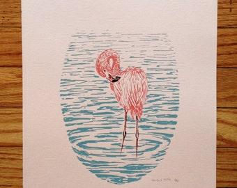 Flamingo - limited edition hand-printed screen print
