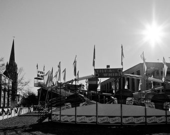 Black and White Street Photography, Carnival Prints, Street Photography, Black and White City Photography, Tilt-a-Whirl.