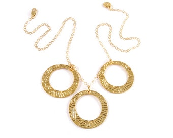 Gold circles necklace - Gold loop necklace - Gold tribal necklace - Gold statement necklace
