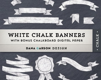 Chalk Ribbon Banners with Chalkboard Digital Paper for invites, printing, scrapbooking, digital collage, clip art, ClipArt