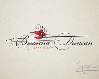 Flower photography logos - premade logo - watermark logo - vintage logo