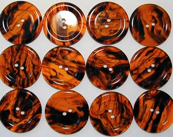 One dozen vintage new old stock Italian faux tortoise shell two hole buttons
