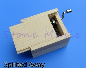 Wooden Hand Crank Musical Box/Music Box Melody Spirited Away Theme Song Always With Me