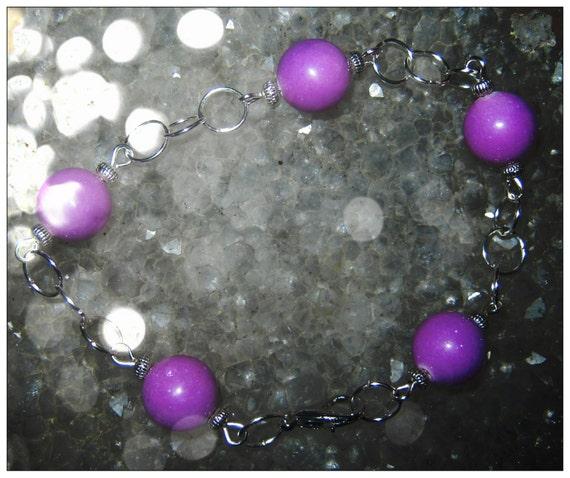 Handmade Silver Bracelet with Purple Jade by IreneDesign2011