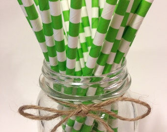 25 Lime Green Stripes paper straws // baby bridal shower decorations //candy dessert buffet table // wedding //St Patrick's / new year party
