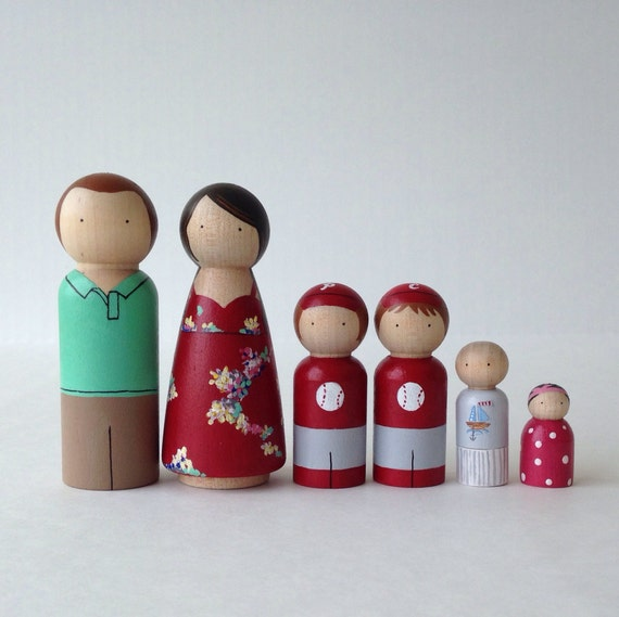 Custom Peg Doll Family, 6pc set