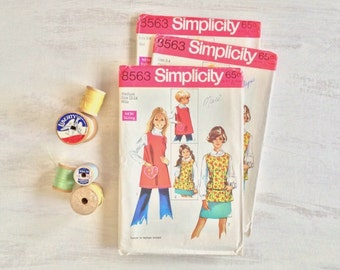 3 Apron Patterns from 1969 for Misses' and Child