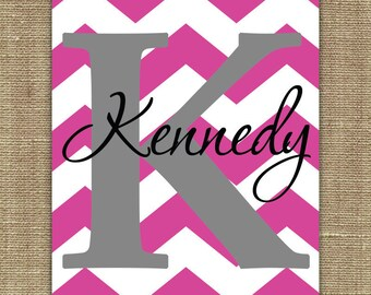 Chevron name print- perfect for nursery, kids room or dorm room!  11x14