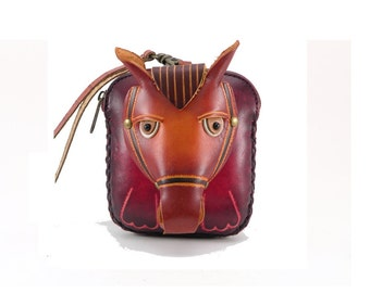 Genuine Leather Horse Wristlet /  Horse Coin Purse /  Equestrian /  Wallet