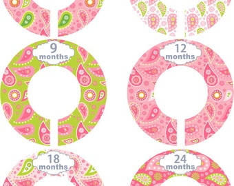 Custom Baby Closet Dividers Girl Boy Paisley Pink and Green Nursery Closet Dividers Baby Shower Gift Baby Clothes Organizers Baby