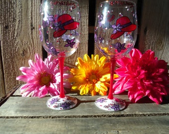 Hand painted wine glasses Red Hat Society