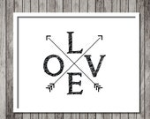 Minimalist Arrow Love Art Print - Inspirational Art - Motivational Print - Love - Arrows Art 8.5x11 Print - Ready to Frame